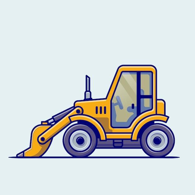 Fumetto del veicolo del trattore. costruzione di trasporto isolato Vettore gratuito