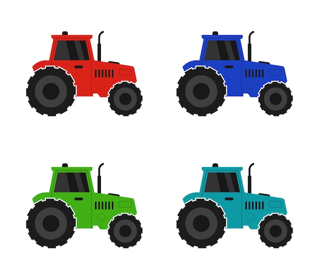 Tractor on a white background Premium Vector