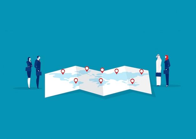 Объединяйтесь в команду машина дела trad на концепции экспорта и импорта карты. Premium векторы