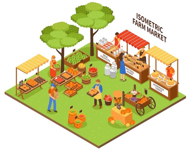 Trade fair market illustration Free Vector