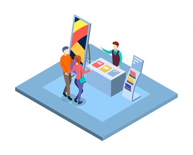 Выставка изометрии. посетители на рекламном выставочном стенде с продавцом, менеджером персонажей. торговая выставка изолированных 3d интерьер. коммерческая презентация Premium векторы