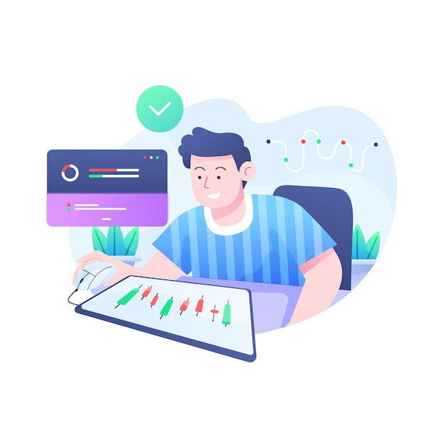 Trader working concept Free Vector