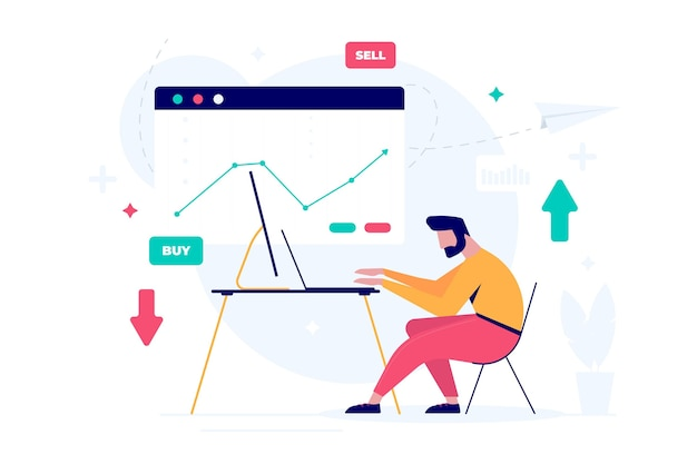 Trader working illustration concept Free Vector