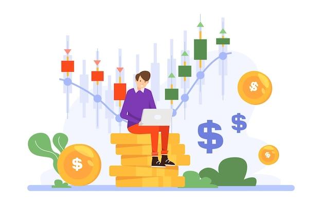 Trader working illustration theme Premium Vector