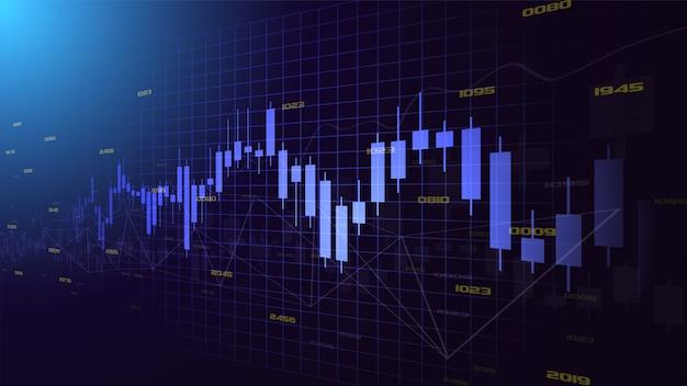 上昇している透明な青いろうそくチャートのイラストと背景を取引します。左から右に傾斜したデザインです。 Premiumベクター