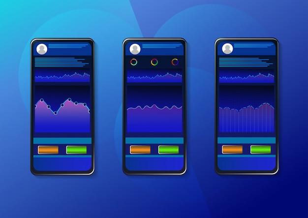 スマートフォンのイラストをローソク足チャートで取引。 Premiumベクター