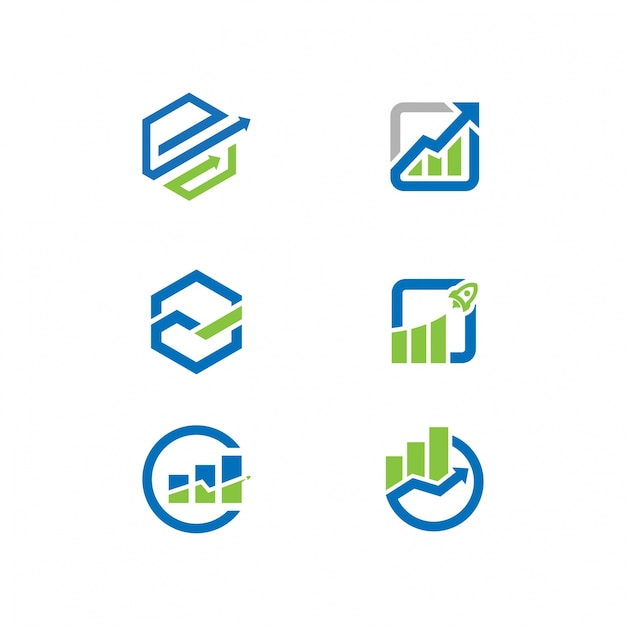 Trading company logos set Premium Vector