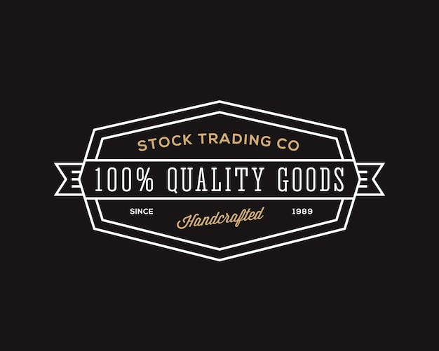 Trading company retro typography abstract  sign, symbol or logo template. black background. Free Vector