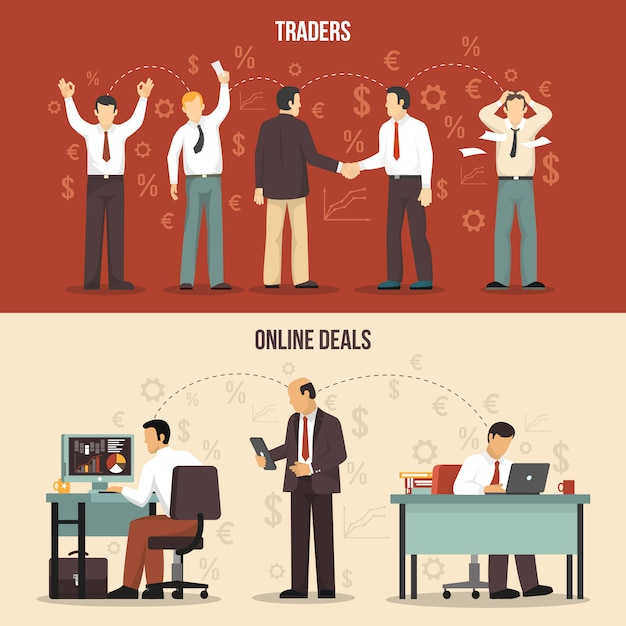 Trading finance banners Free Vector