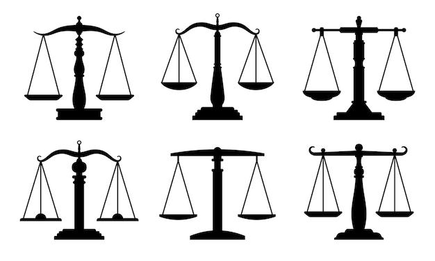 Торговля или закон масштабирует значки. юристы весы, символы сравнения, баланс и балансирующие знаки, изолированные на белом Premium векторы