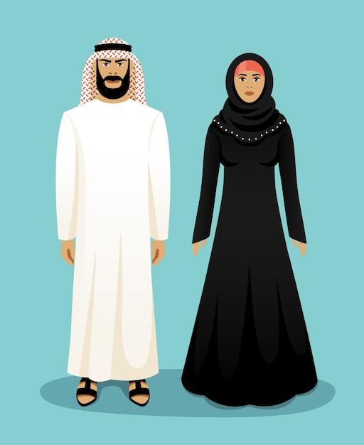 Традиционная арабская одежда. арабский мужчина и арабская женщина. восточный мусульманин, культура и одежда, векторные иллюстрации Бесплатные векторы