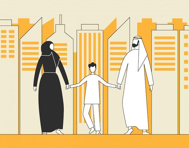 伝統的なアラブの家族、イスラム教徒の男性、女性、都市の高層ビルの背景の上を歩く子。 Premiumベクター