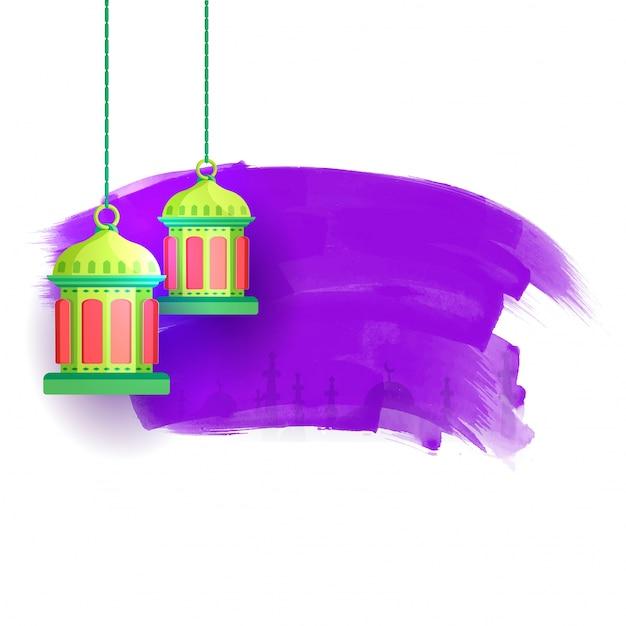 Traditional arabic lanterns on abstract purple brush strokes with traditional arabic lanterns on abstract purple brush strokes with mosque for ramadan kareem muslim community sciox Images