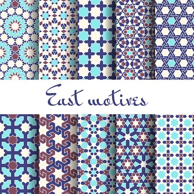 伝統的なアラビアの装飾品。シームレスなパターン、イスラム教徒とアラビア語 無料ベクター