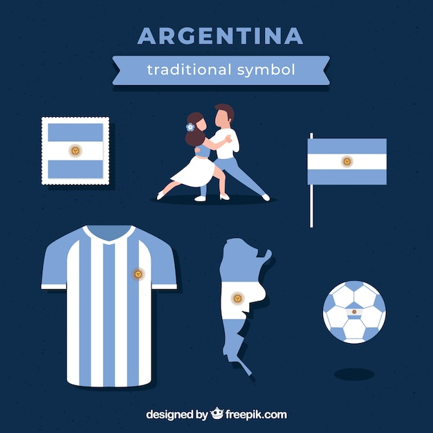 Traditional argentinian elements Free Vector