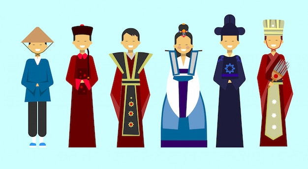 Traditional asian clothes set people wearing beautiful national costumes Premium Vector
