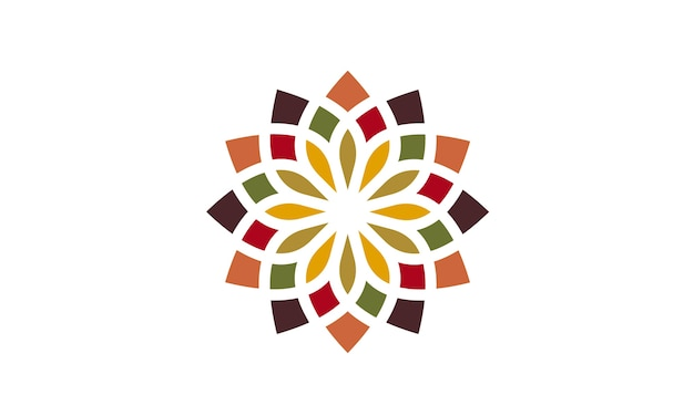 Traditional asian colorful floral pattern logo design Premium Vector