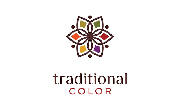 Traditional asian colorful floral pattern logo Premium Vector