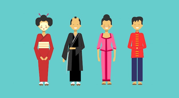 Traditional asian costumes set people wearing kimono chinese Premium Vector