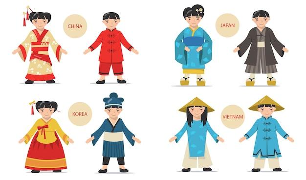 Set di coppie asiatiche tradizionali. cartoni animati cinesi, giapponesi, coreani, uomini e donne vietnamiti che indossano costumi nazionali, kimono e cappelli. Vettore gratuito