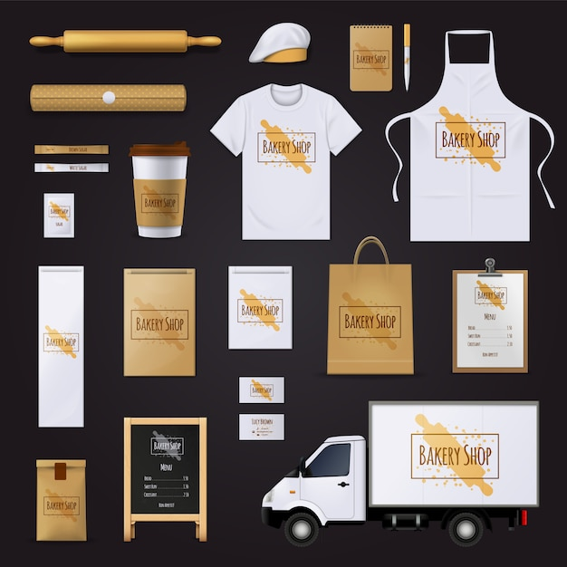 Traditional bakery shop corporate identity template Free Vector