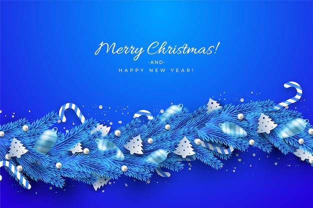 Traditional blue tinsel for christmas tree background Free Vector