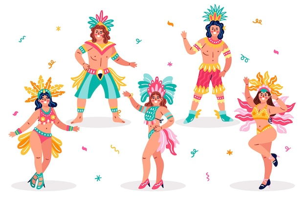 Traditional brazilian female dancers and clothes Free Vector