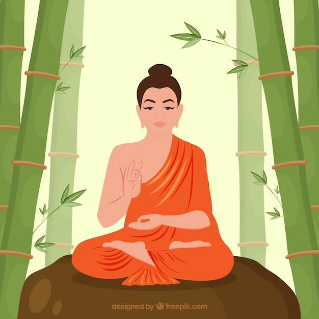 Traditional budha with flat design Free Vector