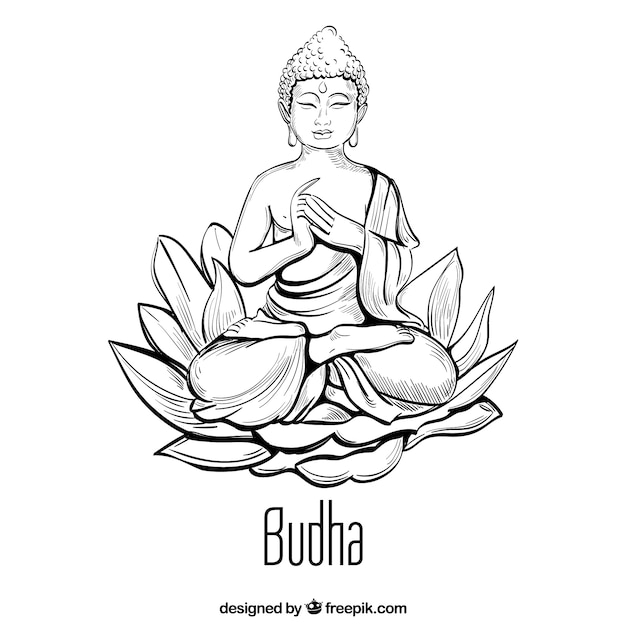 Traditional budha with hand drawn style Free Vector