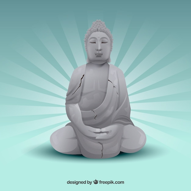 Traditional budha with realistic style Free Vector