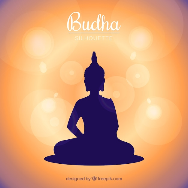 Traditional budha with silhouette style Free Vector