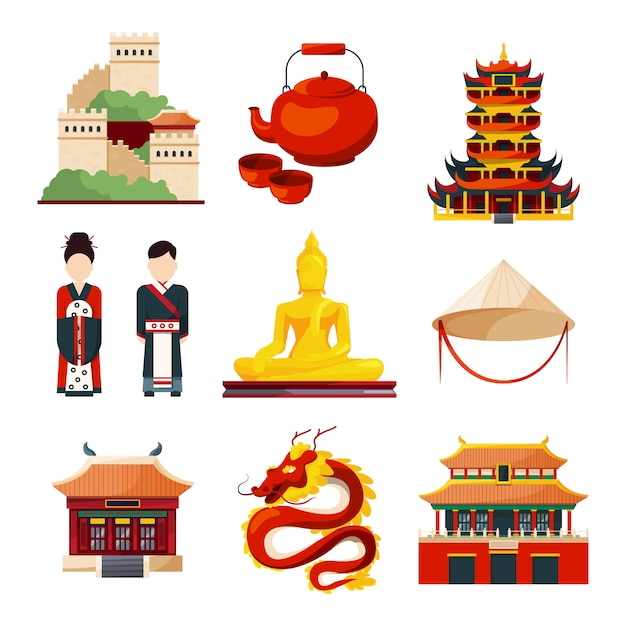 Traditional chinese cultural objects in vector style Premium Vector