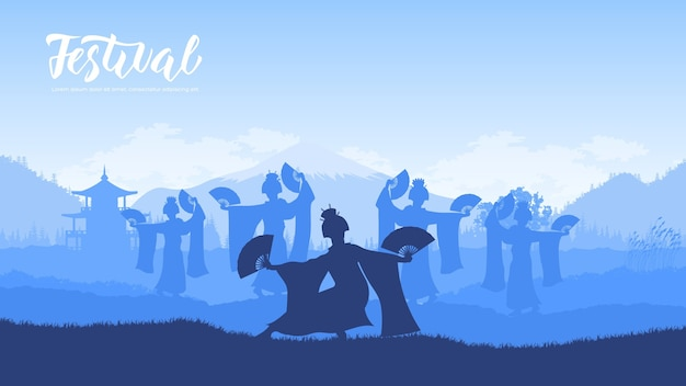 ファンとの伝統的な中国舞踊。ヒンズー教の国民舞踊家は、自然の中で伝統的な踊りを披露します。 Premiumベクター