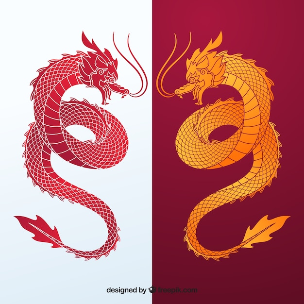 Traditional chinese dragon silhouette collection Free Vector