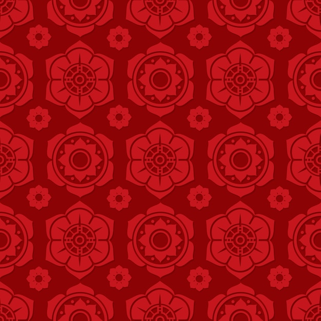 Traditional chinese and japanese floral seamless pattern design Premium Vector