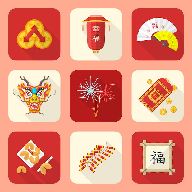 Traditional chinese new year icons set Premium Vector
