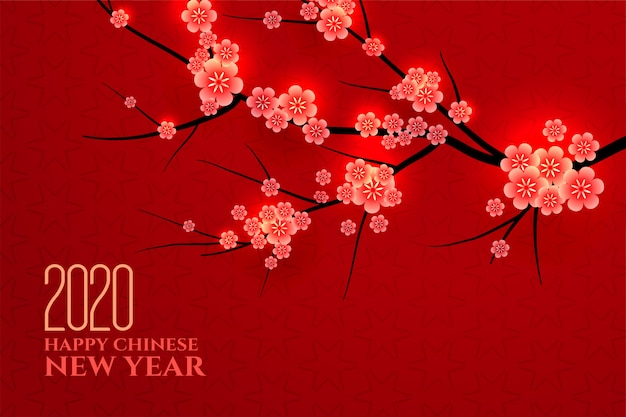 Traditional chinese new year plum leaves background Free Vector