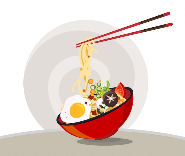 Traditional chinese soup with noodles, noodle soup in chinese bowl asian food Premium Vector