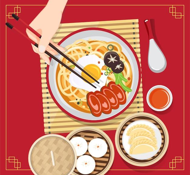 麺と伝統的な中国のスープ、チャイニーズボウルアジア料理のヌードルスープイラスト Premiumベクター