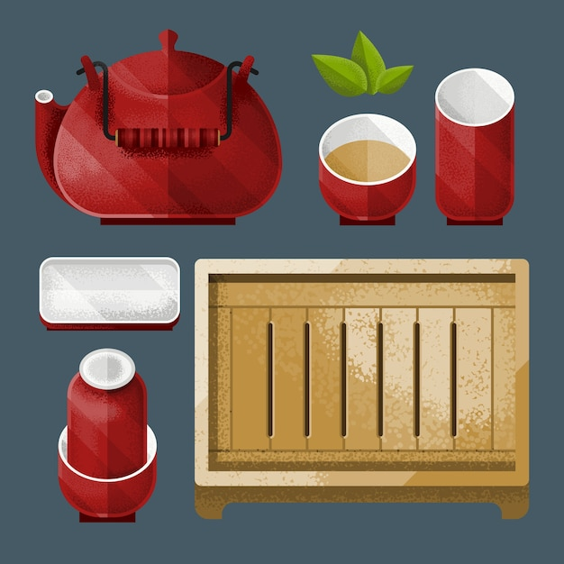 Traditional chinese tea utensil set Free Vector