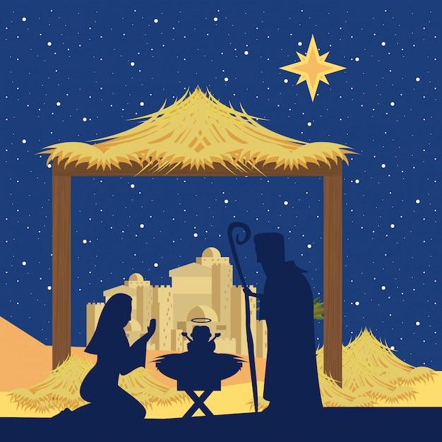 전통적인 기독교 크리스마스 프리미엄 벡터