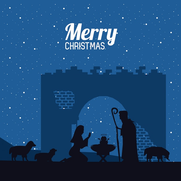 Traditional christian christmas Premium Vector