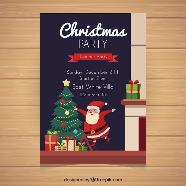 Traditional christmas poster with flat design