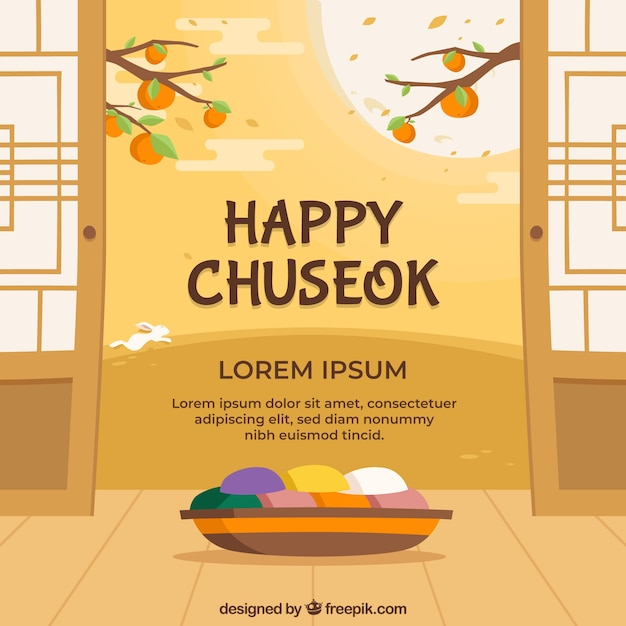Traditional chuseok background in flat style Free Vector