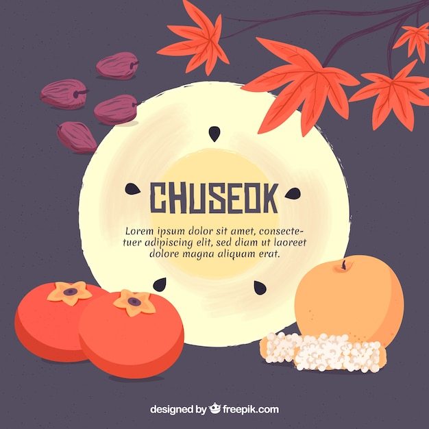 Traditional chuseok composition with flat design Free Vector