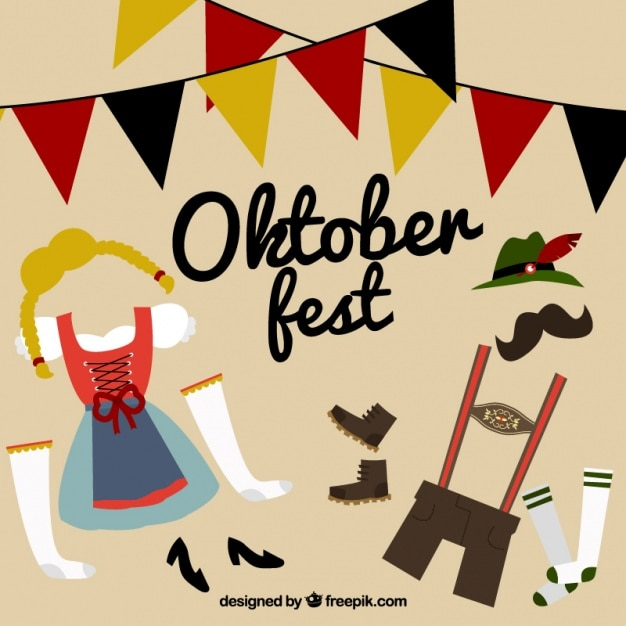 Traditional clothing for oktoberfest Free Vector