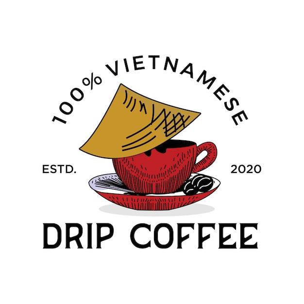 ベトナムのビンテージロゴの伝統的なコーヒー Premiumベクター