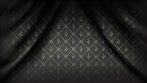 Traditional connecting thai flora pattern background on silk fabric wave curtain Premium Vector