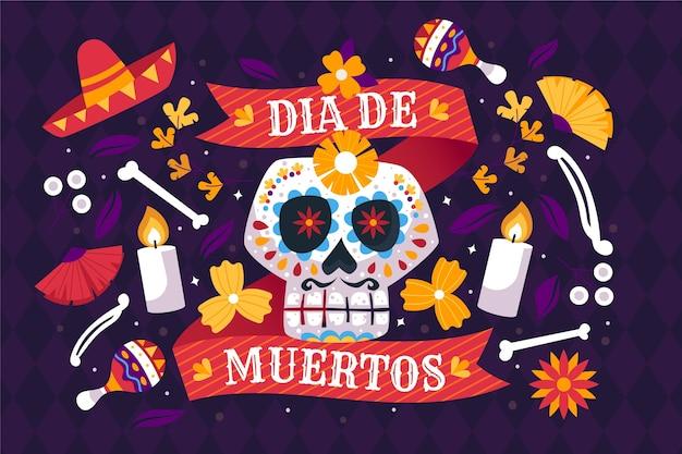 Традиционный фон dia de muertos Бесплатные векторы