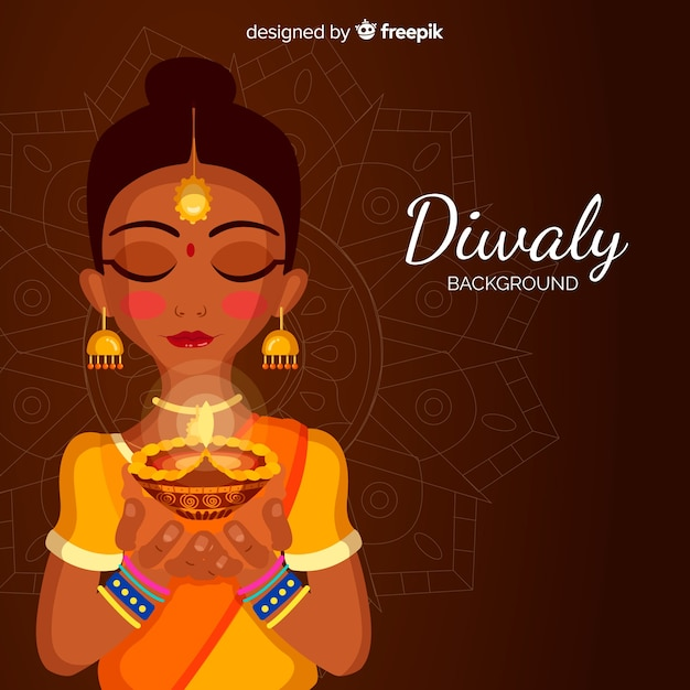 Traditional diwali background with flat design Free Vector